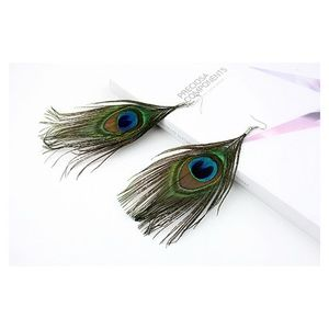 Boho Festival Peacock Feather Earrings